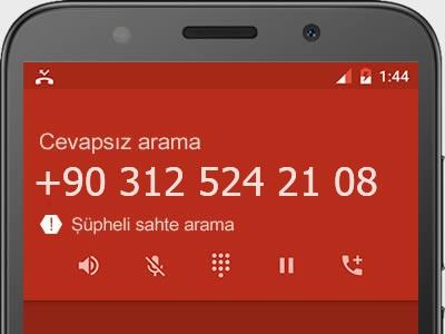 0312 524 21 08 numarası dolandırıcı mı? spam mı? hangi firmaya ait? 0312 524 21 08 numarası hakkında yorumlar