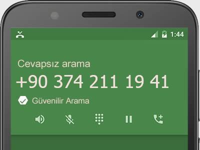 0374 211 19 41 numarası dolandırıcı mı? spam mı? hangi firmaya ait? 0374 211 19 41 numarası hakkında yorumlar