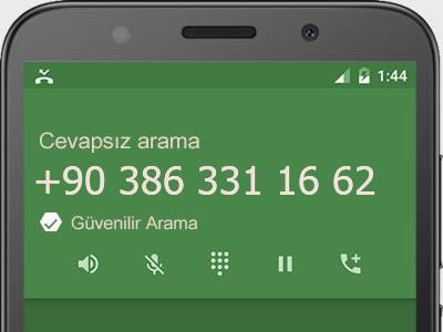 0386 331 16 62 numarası dolandırıcı mı? spam mı? hangi firmaya ait? 0386 331 16 62 numarası hakkında yorumlar