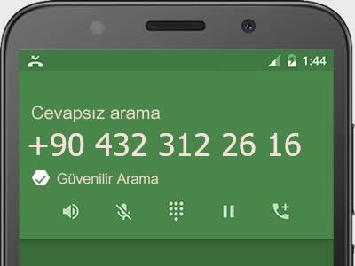 0432 312 26 16 numarası dolandırıcı mı? spam mı? hangi firmaya ait? 0432 312 26 16 numarası hakkında yorumlar